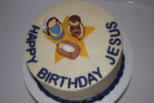 Mary, Joseph, and baby Jesus Birthday Cake