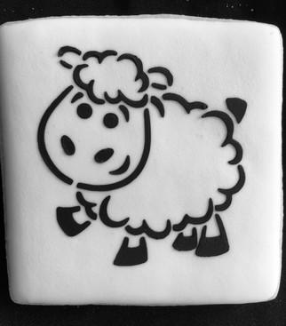 Manger Scene Lamb PYO Sugar Cookie