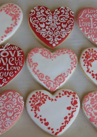 Stencil Heart Sugar Cookies