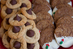 Peanut Butter Kiss Cookies and White Chocolate Dipped Ginger Cookies