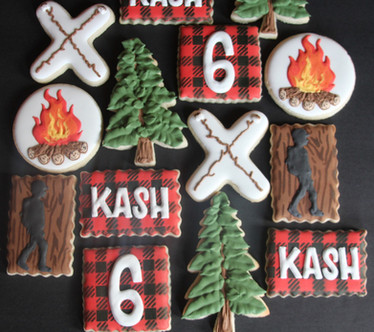 Camp themed fall birthday sugar cookies.