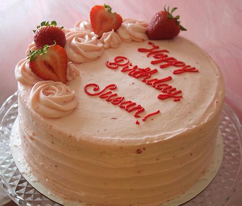 Happy Birthday Strawberry Buttercream Birthday Cake