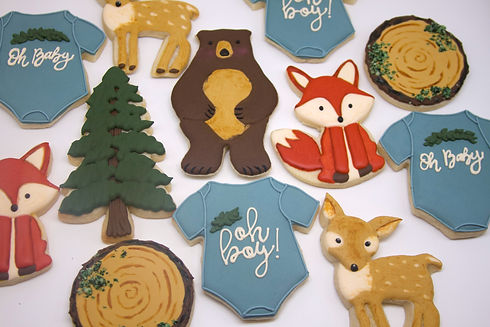 Woodland Themed Baby Shower Royal Icing Sugar Cookies