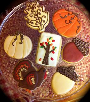 Thanksgiving themed custom sugar cookies