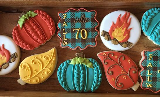 Fall themed birthday sugar cookies