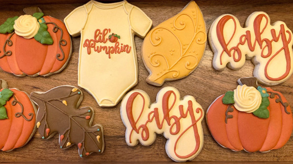 Lil' Pumpkin Baby Shower Sugar Cookies
