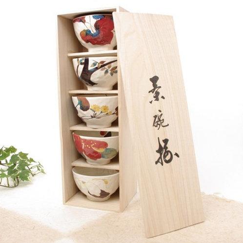 (日本製) 一套五件陶瓷碗禮盒連木箱套裝 (Made in Japan) Set of 5pcs Ceramic Bowl Gift Set with Wood