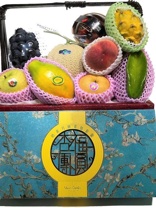 中秋節禮物籃 AC : 生果籃 內含梵高月餅 連運費 (中秋優惠, 低至8 折)