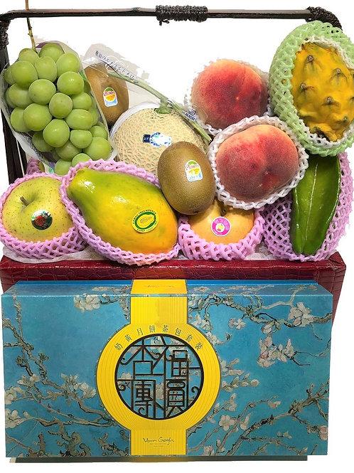中秋節禮物籃 AD : 生果籃 內含梵高月餅 連運費 (中秋優惠, 低至8 折)
