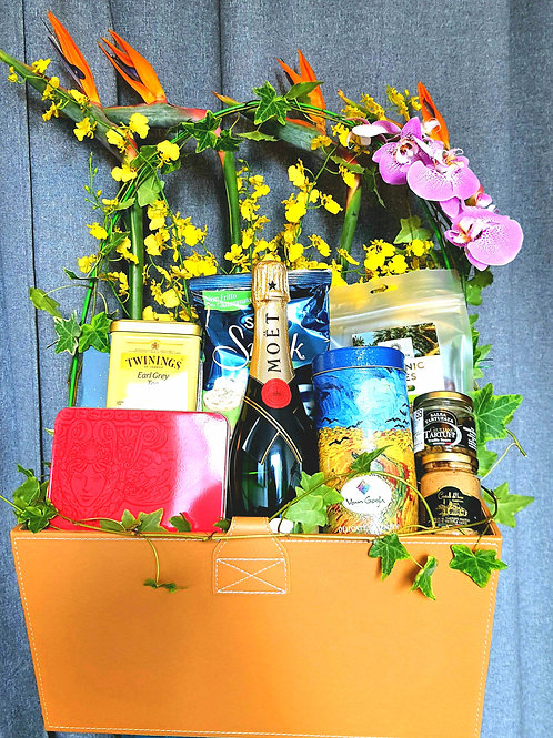 AG 中秋特選鮮花禮品籃連香檳 Mid-Autumn Gift Hamper with Flower Decor AG