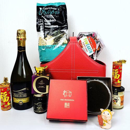 農曆新年禮物籃 D: 半島酒店年糕, Godiva 朱古力,氣泡酒 HAMPER D: Prosecco + Peninsula CNY Pudding