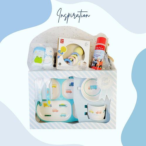 嬰兒餐具及玩具禮物籃 Baby Cutlery and Toy Hamper Set