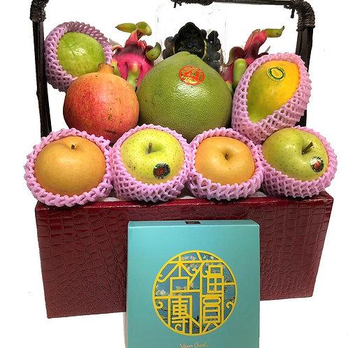 中秋節禮物籃 AA : 生果籃 內含梵高月餅 連運費 (中秋優惠, 低至8 折)