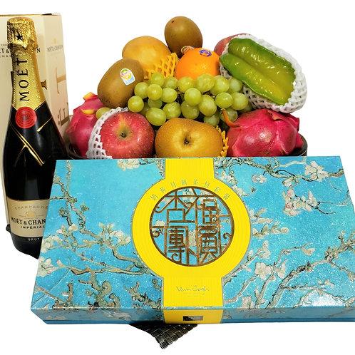 中秋節禮物籃 AF : 生果籃 內含梵高月餅 連運費 (中秋優惠, 低至8 折)