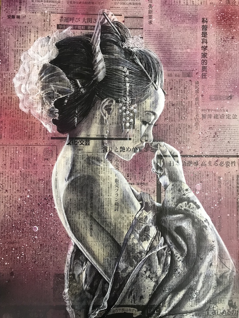 Geisha in purple (50x70) dispo en galeri