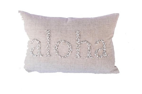 Natural Linen, Mixed Beaded Pillow Cover
