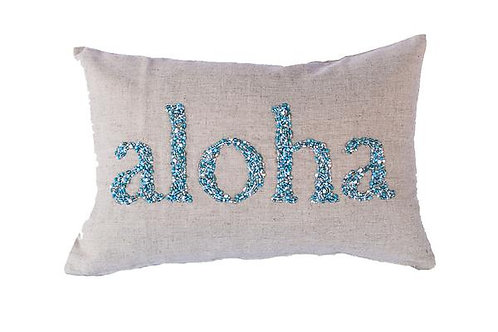 Natural Linen, Aqua Beaded Pillow Cover