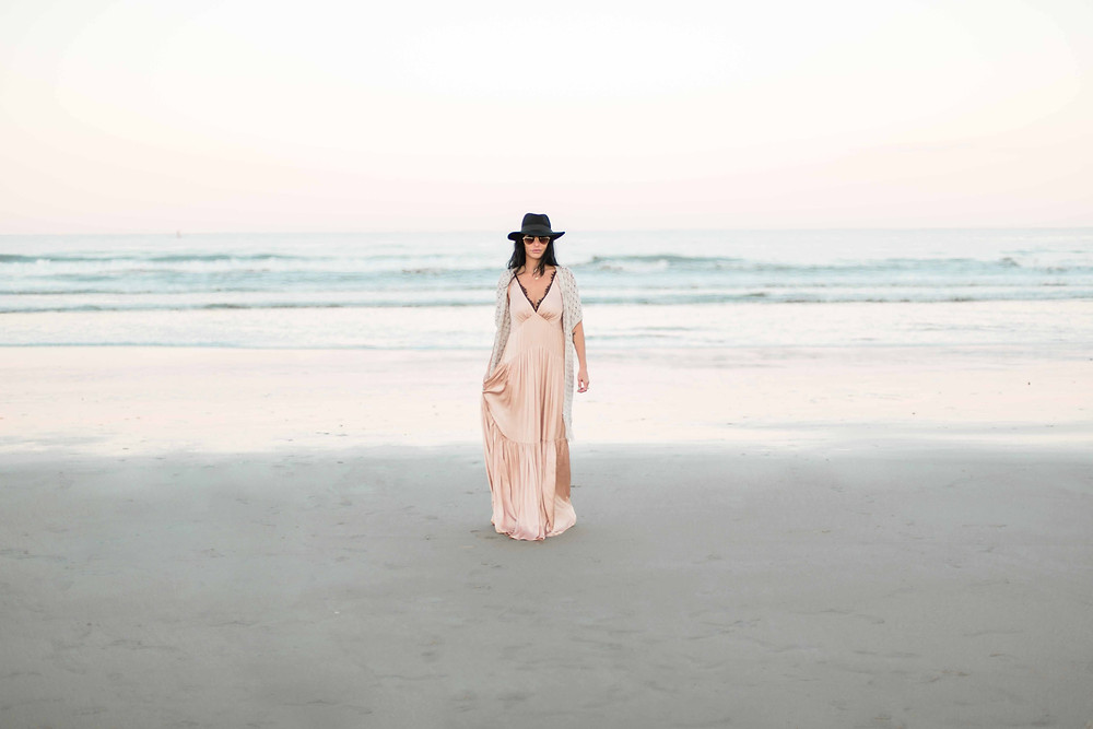pastel beach fashion shoot