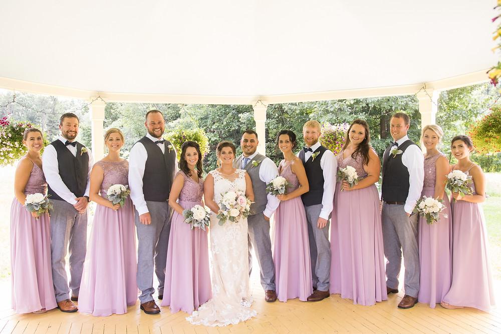 purple bridesmaids wedding party photo