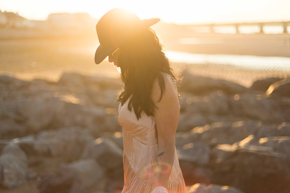 golden hour fashion shoot at the beach