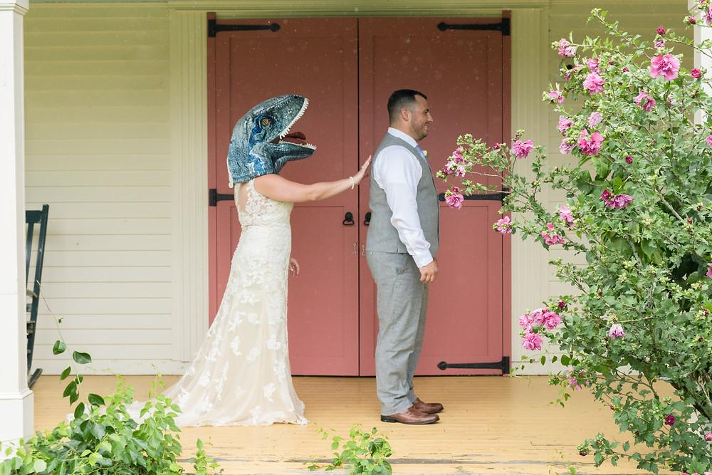 dinosaur mask first look wedding