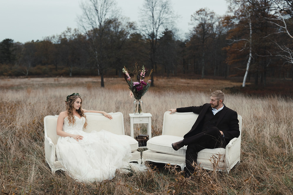 white wedding couch in field