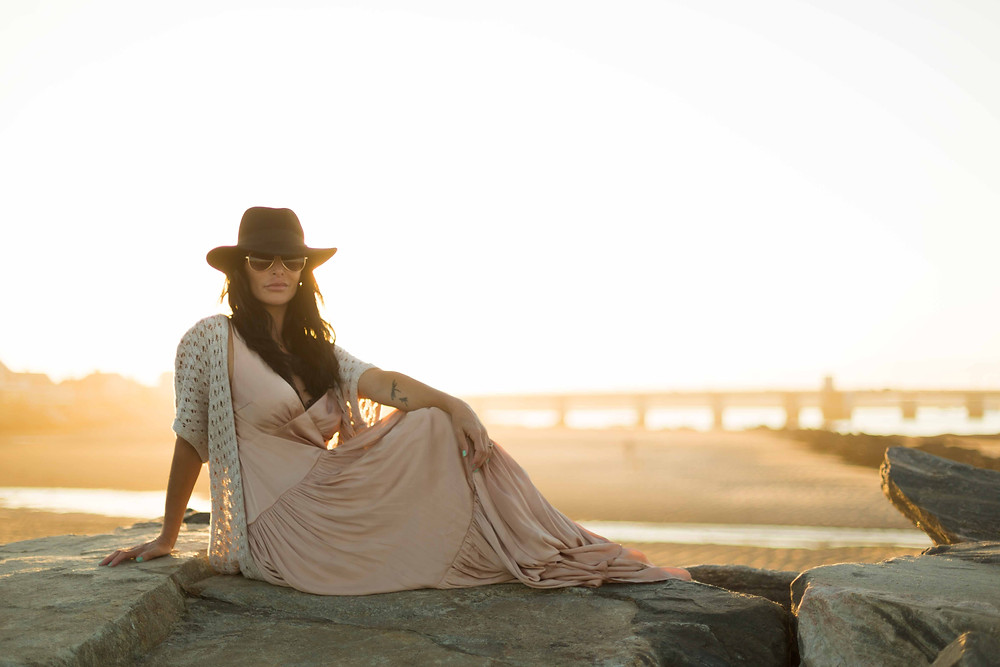 golden hour beach portrait