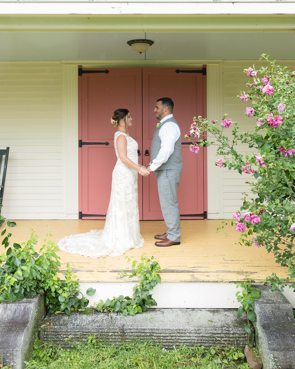 wedding portrait on a porch