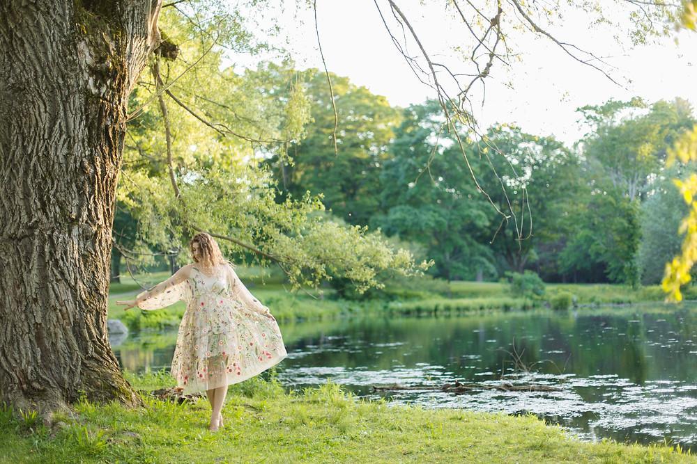 meadow floral dress fashion photoshoot