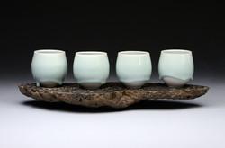 Blue Basalt Cups, Basalt Stand