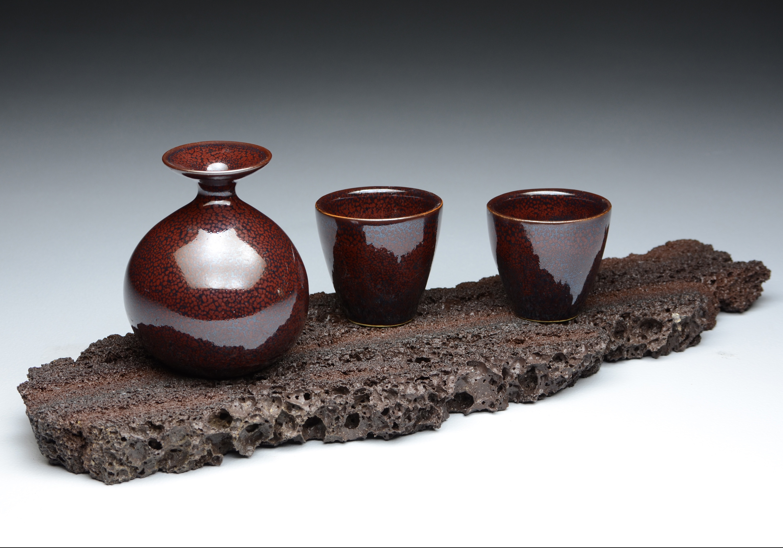 Lava Oilspot Sake Set, Basalt Stand