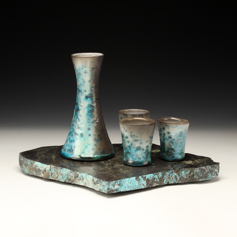 Sake Set, Chrysocolla/Hedenbergite