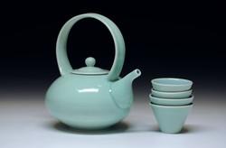 Matt Fiske Mint Celadon Teapot, Cups