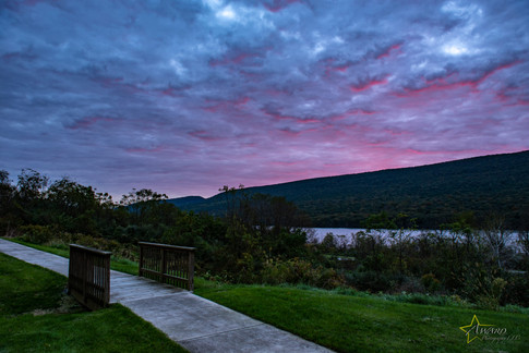 Red skies above the lake