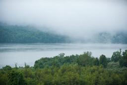 Fog over the lake.