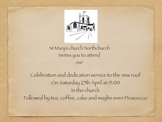 Roof dedication and thanksgiving service
