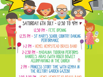 Saturday 6th July - 12:30 to 4pm - See what's happenning at the St Mary's Church Fete!