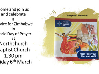 A reminder about today's World Day of Prayer at Northchurch Baptist Church