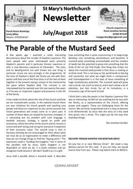 July & August Parish Newsletter