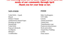 Parish Pantry needs for April