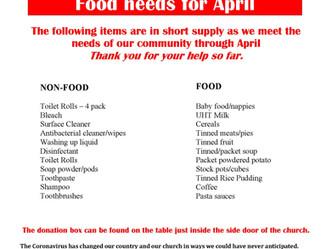 Parish Pantry needs for April