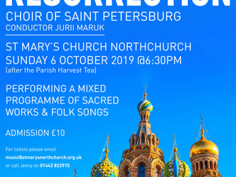 Watch the Choir of Saint Petersburg perform LIVE in our Church on Sunday 6th October!