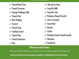 Harvest thanksgiving service and foodbank donations