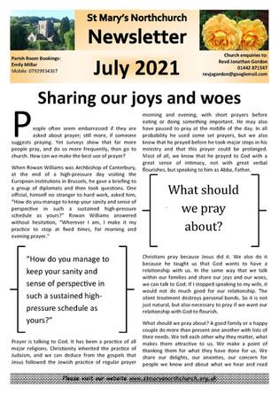 July 2021 Parish Newsletter