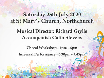 FESTIVAL OF PSALMS: 2020 Choral Workshop on Saturday July 25th