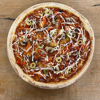 Vegan cheese pizza with mushrooms takeaway restaurant banchory