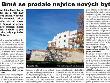 Výstavbou družstevních bytů plánuje Brno řešit nedostatek volných bytů