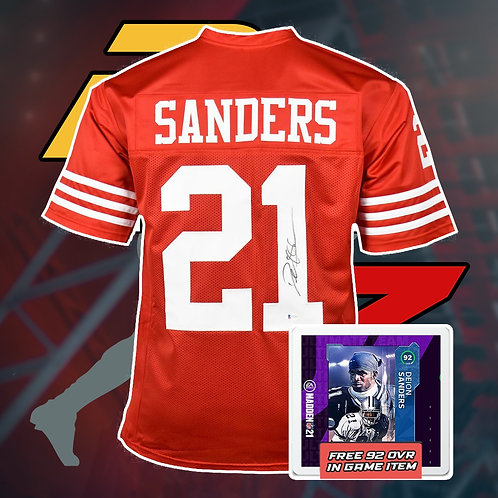 Deion Sanders Signed NFL Jersey with COA + In Game Item
