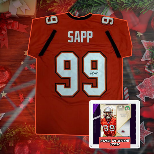 Warren Sapp Signed NFL Jersey with COA + In Game Item