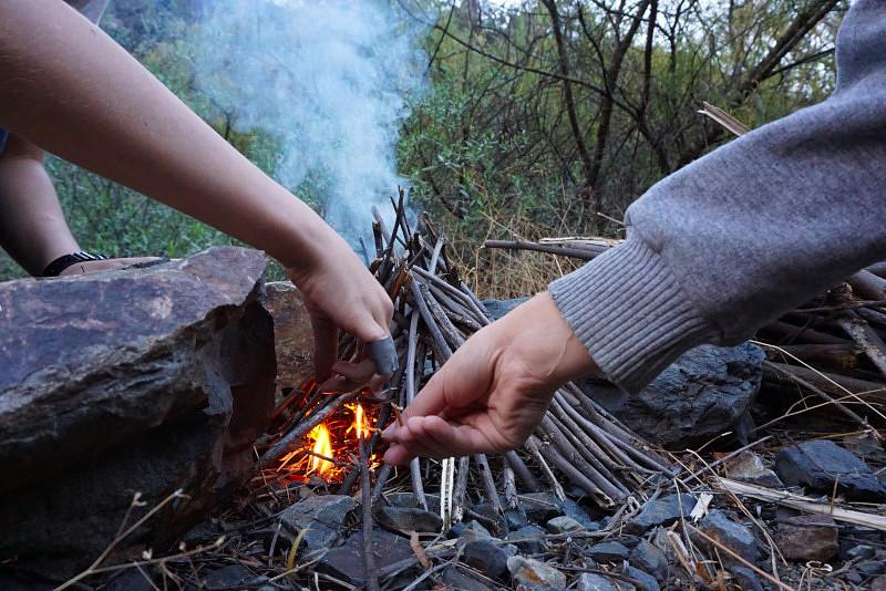 Building a fire. Photo: Jessica Groenendijk